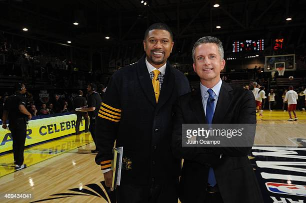 Jalen Rose and Bill Simmons of ESPN pose for a photo during the Sprint NBA AllStar Celebrity Game at Sprint Arena as part of 2014 NBA AllStar Jam...