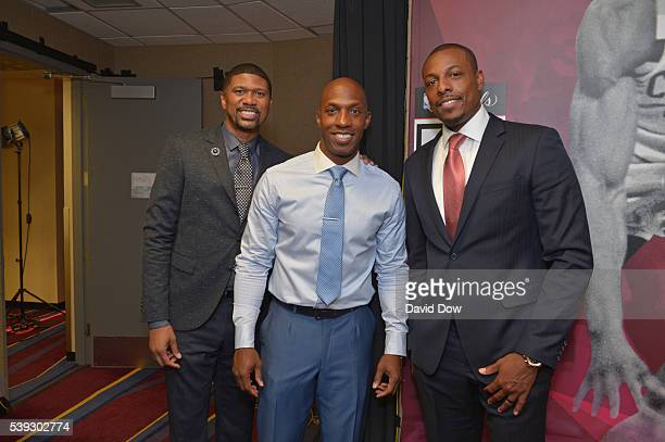 Jalen Rose Chauncey Billups and Paul Pierce before the game between the Golden State Warriors and the Cleveland Cavaliers in Game Three of the 2016...