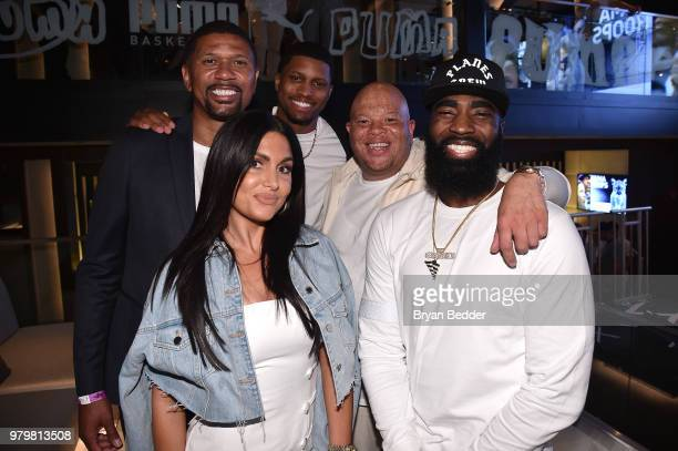 Jalen Rose Molly Qerim Rudy Gay and God Shammgod attend the PUMA Basketball launch party at 40/40 Club on June 20 2018 in New York City