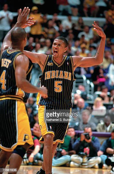 Jalen Rose of the Indiana Pacers displays emotion aginst the Los Angeles Lakers during Game Two of the 2000 NBA Finals on June 9 2000 at the Staples...