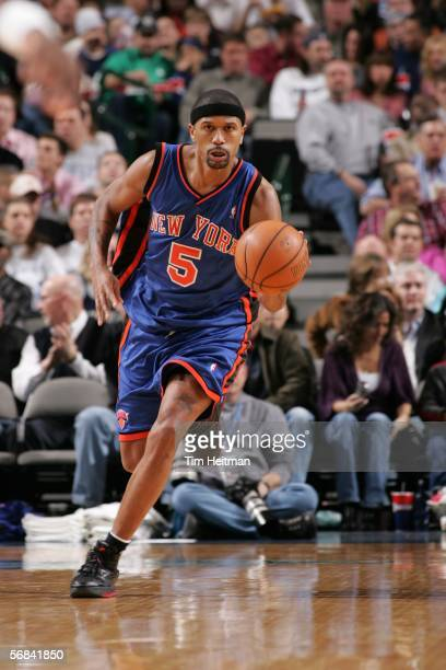 Jalen Rose of the New York Knicks drives the ball down the court against the Dallas Mavericks on February 13 2006 at American Airlines Center in...
