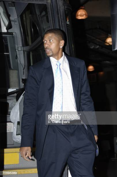 Jalen Rose of the Phoenix Suns steps off the team bus as he arrives at the arena for a game against the San Antonio Spurs at ATT Center on November 8...