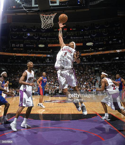 Jalen Rose of the Toronto Raptors lays the ball up during the game against the Detroit Pistons at the Air Canada Centre on April 13 2004 in Toronto...