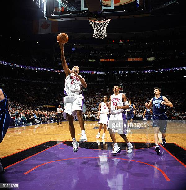 Jalen Rose of the Toronto Raptors takes the layup against the Utah Jazz during the game on December 22 2004 at Air Canada Centre in Toronto Canada...