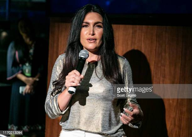 Jalen Rose's wife Molly Qerim Rose speaks at the MGM Casino's Topgolf Swing Suite on August 25 2019 in Detroit Michigan