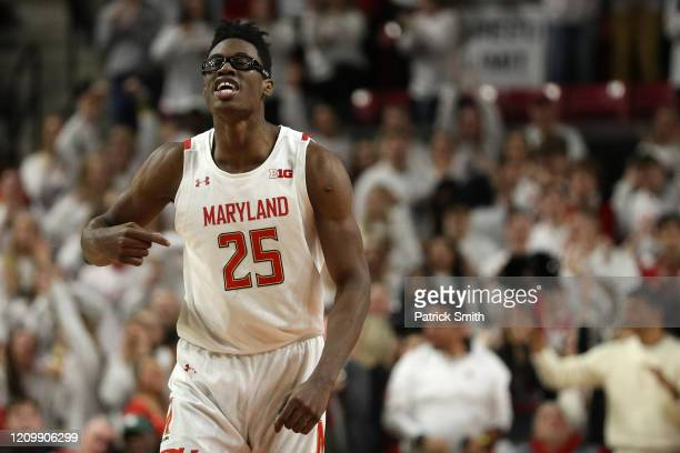 Jalen Smith of the Maryland Terrapins celebrates after scoring against the Michigan State Spartans at Xfinity Center on February 29, 2020 in College...