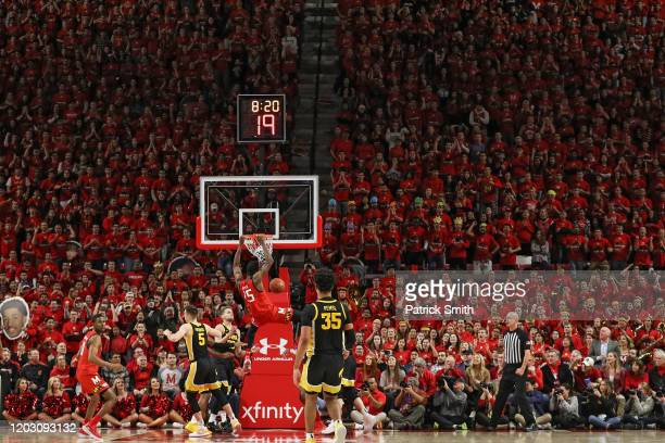 Jalen Smith of the Maryland Terrapins dunks against the Iowa Hawkeyes during the first half at Xfinity Center on January 30 2020 in College Park...