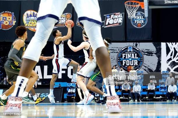 Jalen Suggs of the Gonzaga Bulldogs goes up for a basket against the Baylor Bears in the National Championship game of the 2021 NCAA Men's Basketball...