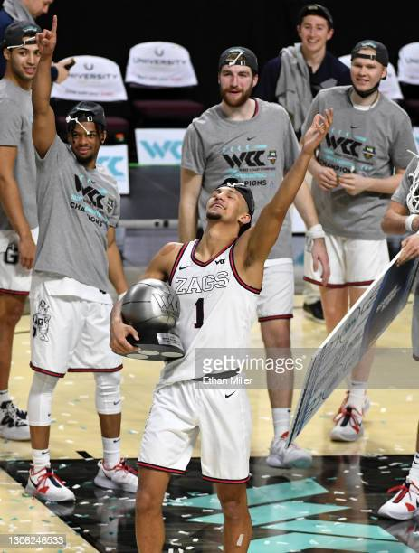 Jalen Suggs of the Gonzaga Bulldogs holds the most outstanding player award after the team's 88-78 victory over the Brigham Young Cougars to win the...