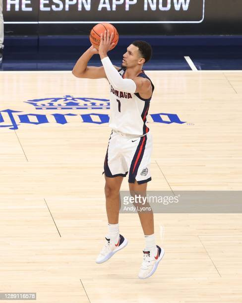 Jalen Suggs of the Gonzaga Bulldogs shoots the ball against the West Virginia Mountaineers during the Jimmy V Classic at Bankers Life Fieldhouse on...