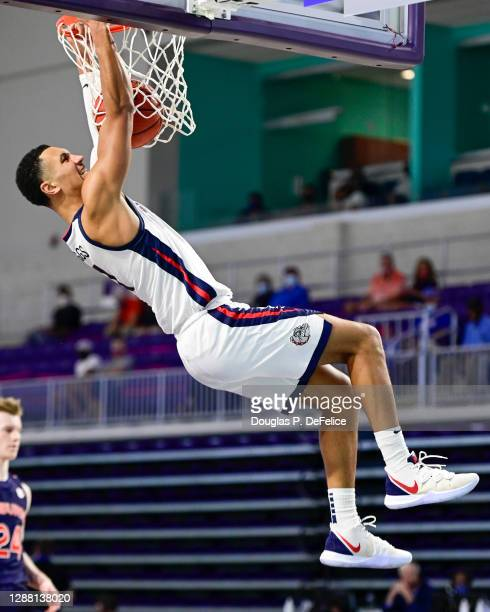 Jalen Suggs of the Gonzaga Bulldogs slams the ball during the second half against the Auburn Tigers during the Rocket Mortgage Fort Myers Tip-Off at...