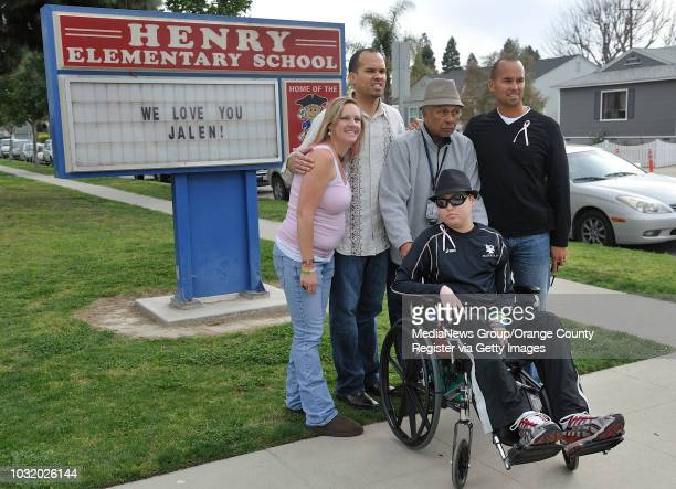 BEACH CALIF USA Jalen Thayer center with his mother Jennifer Thayer left uncle Scott Thayer grandfather Matthew Thayer and father Lance Thayer at...