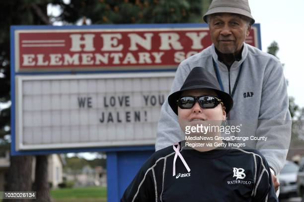BEACH CALIF USA Jalen Thayer with his grandfather Matthew Thayer at Patrick Henry School in Long Beach Calif on March 19 2011 Friends and family of...