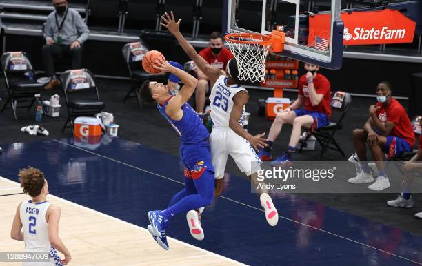 Jalen Wilson of the Kansas Jayhawks shoots the ball while defended by Isaiah Jackson of the Kentucky Wildcats in the State Farm Champions Classic at...