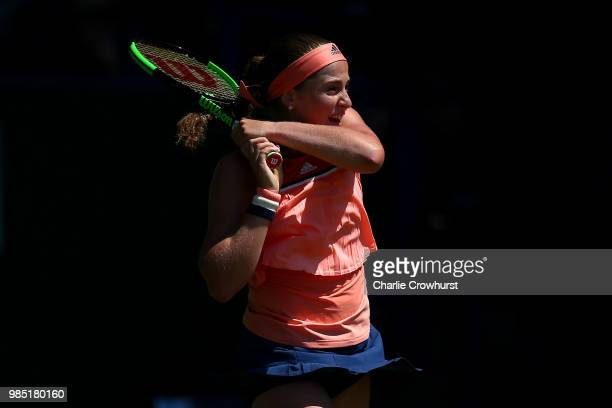 Jalena Ostapenko of Latvia in action during her women's singles match against Michael Buzarnescu of Romania during Day Six of the Nature Valley...