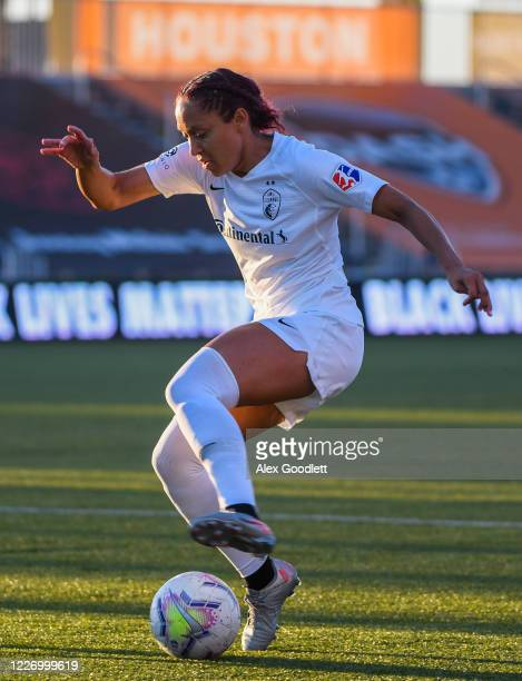 Jalene Daniels of North Carolina Courage in action during a game against the Sky Blue FC on day 8 of the NWSL Challenge Cup at Zions Bank Stadium on...
