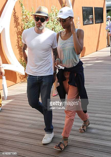 Jalil Lespert and his wife Sonia Rolland attend day 13 of the French Open 2015 at Roland Garros stadium on June 5 2015 in Paris France