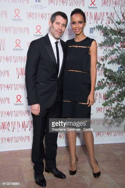 Jalil Lespert and Sonia Rolland attend the 16th Sidaction as part of Paris Fashion Week on January 25 2018 in Paris France
