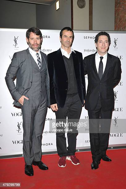 Jalil Lespert Andrea Occhipinti and Guillaume Gallienne attend 'Yves Saint Laurent' Premiere on March 17 2014 in Milan Italy