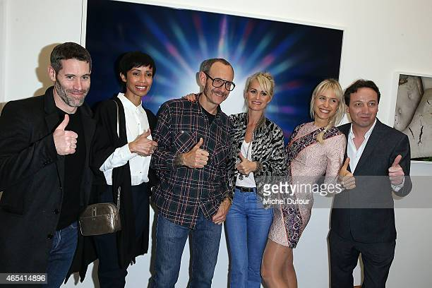 Jalil Lespert Sonia Rolland Terry Richardson Laetitia Hallyday AnneSophie Mignaux and Emmanuel Perrotin attend Art Exhibition at Galerie Perrotin as...