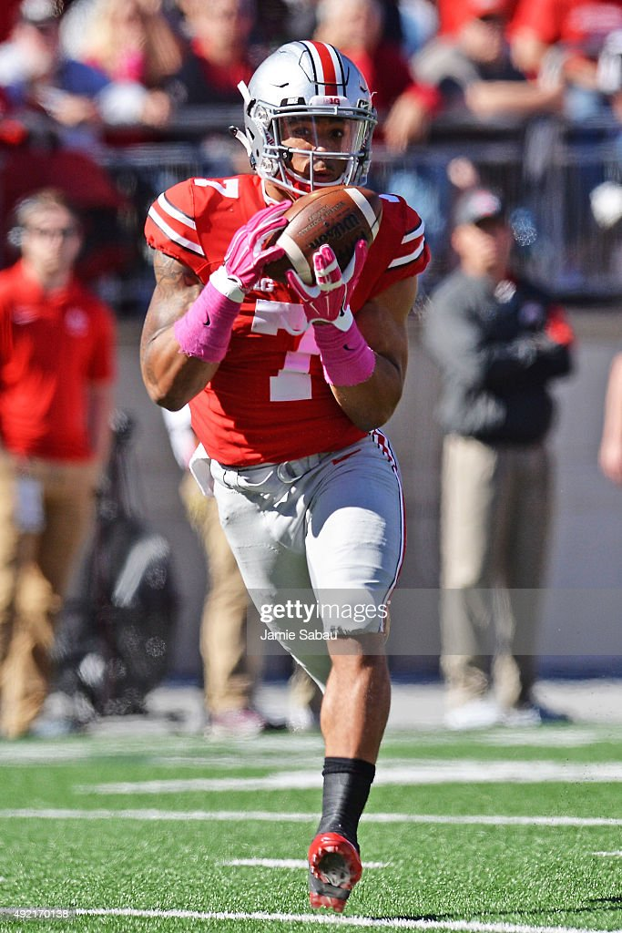 Jalin Marshall #7 of the Ohio State Buckeyes catches a 48-yard pass for a touchdown in the third quarter against the Maryland Terrapins at Ohio Stadium on October 10, 2015 in Columbus, Ohio. Ohio State defeated Maryland 49-28.