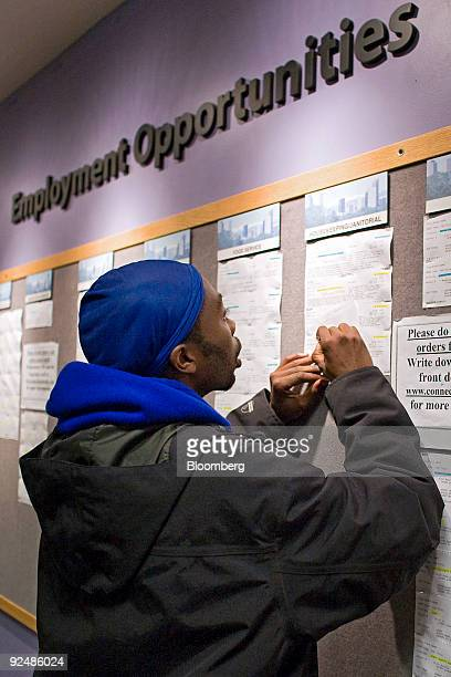 Jalin Willis who has been unemployed for almost 1 year writes down housekeeping and janitorial job listings at the Denver Workforce Center part of...