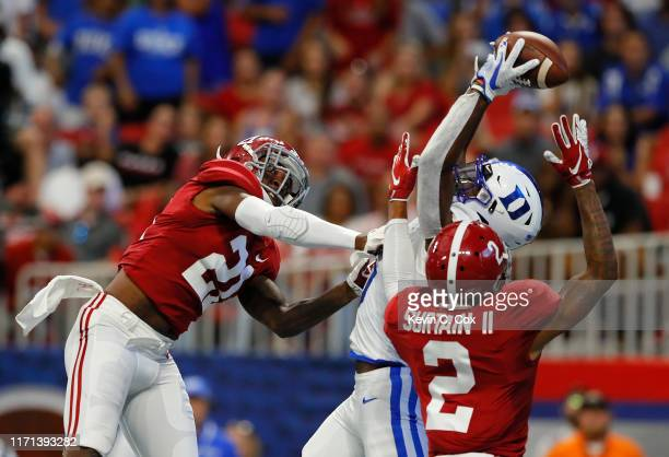 Jalon Calhoun of the Duke Blue Devils has this touchdown reception broken up by Patrick Surtain II of the Alabama Crimson Tide in the first half at...