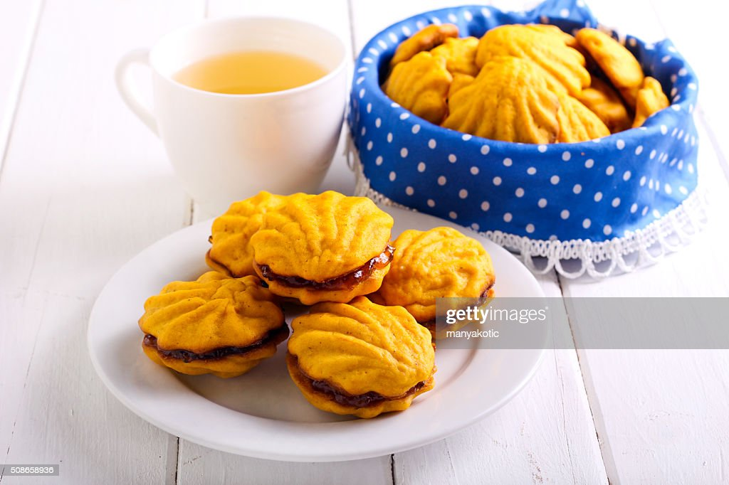 Jam filling biscuits on plate : Stock Photo