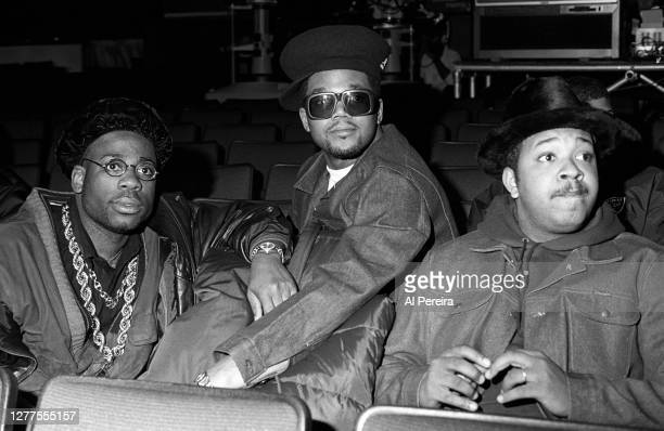 """Jam Master Jay , DMC and Run of Run-DMC relax before they perform at """"Rapmania: The Roots Of Rap"""" concert extravaganza at The Apollo Theater on March..."""
