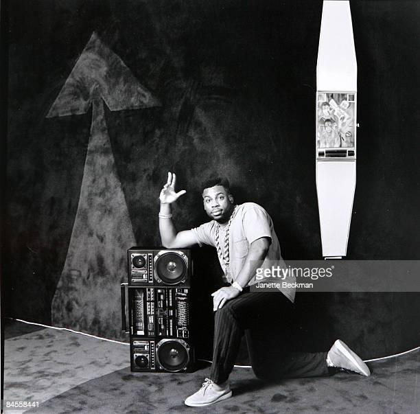 Jam Master Jay of the rap hiphop group Run DMC leans on a huge boombox while posing at his home in Manhattan New York 1991