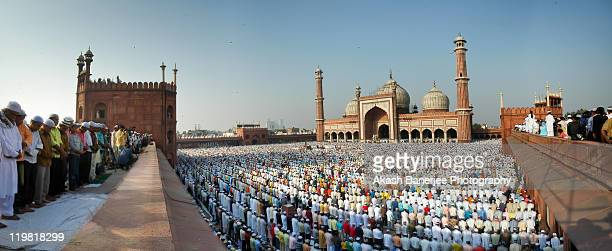 jama masjid in wideangle, delhi, india - agra jama masjid mosque stock pictures, royalty-free photos & images