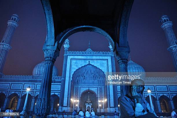 Jama Masjid is lit up in Blue on World diabetes day on November 7 2012 in New Delhi India