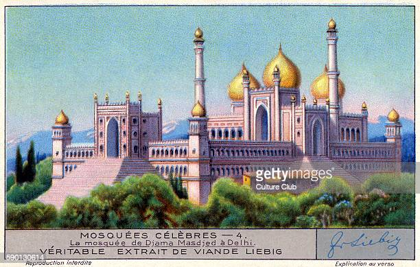 Jama Masjid mosque Delhi India Famous mosques Liebig collectors' card 1931