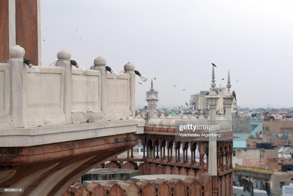 Jama Masjid mosque Mughal Indo-Islamic architecture, red sandstone, white marble, Delhi, India : Stock Photo