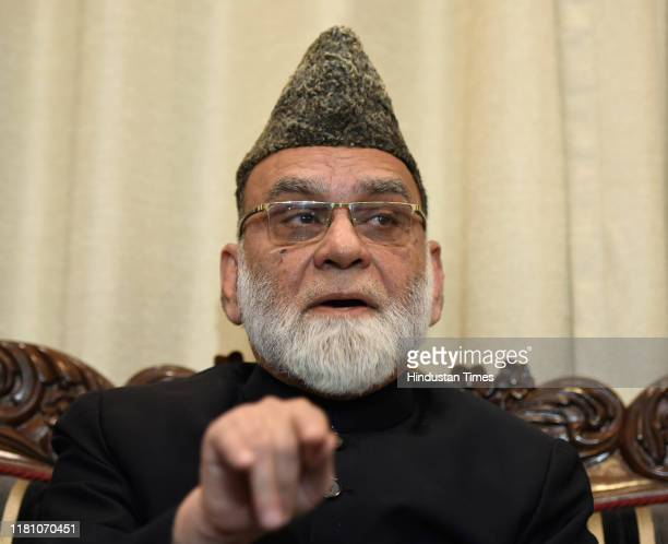 Jama Masjid Shahi Imam Syed Ahmed Bukhari addresses a press conference after the Supreme Court verdict in the Ram Janmabhoomi Babri Masjid case on...