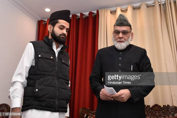 Jama Masjid Shahi Imam Syed Ahmed Bukhari arrives to address a press conference after the Supreme Court verdict in the Ram Janmabhoomi Babri Masjid...