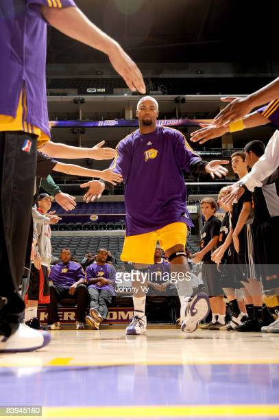 Jamaal Brown of the Los Angeles DFenders is introduced in the starting lineups before taking on the Tulsa 66ers at Staples Center on December 7 2008...
