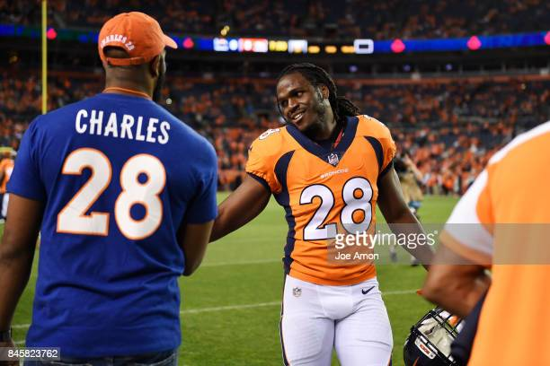 Jamaal Charles of the Denver Broncos high fives supporters before the first quarter on Monday September 11 2017 The Denver Broncos hosted the Los...
