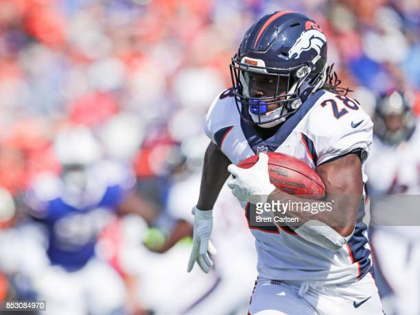 Jamaal Charles of the Denver Broncos runs the ball during an NFL game against the Buffalo Bills on September 24, 2017 at New Era Field in Orchard...