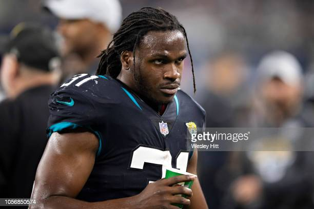 Jamaal Charles of the Jacksonville Jaguars on the sidelines during a game against the Dallas Cowboys at ATT Stadium on October 14 2018 in Arlington...