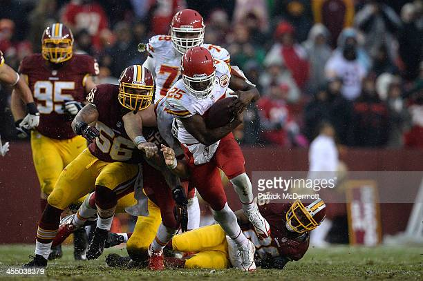 Jamaal Charles of the Kansas City Chiefs carries the ball in the third quarter during an NFL game against the Washington Redskins at FedExField on...