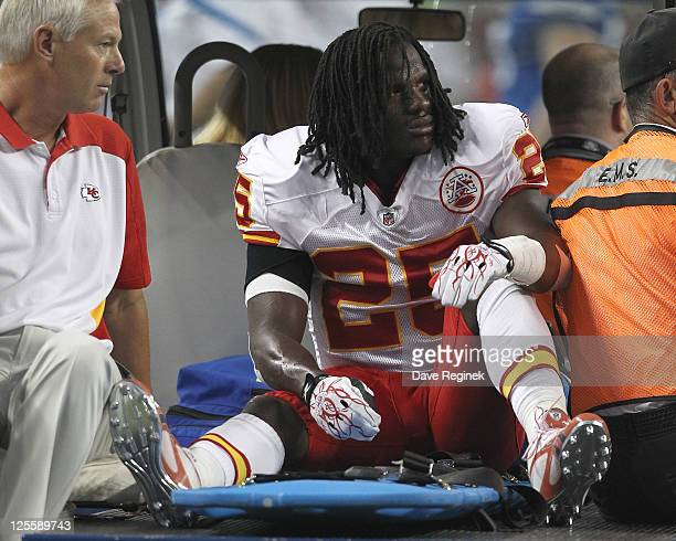 Jamaal Charles of the Kansas City Chiefs is driven off the field after being injured against the Detroit Lions at Ford Field on September 18, 2011 in...