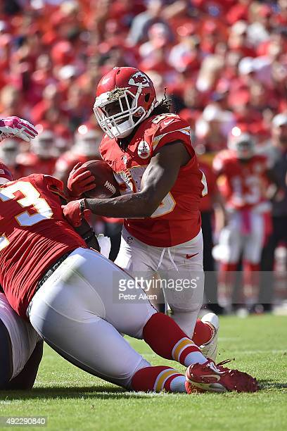 Jamaal Charles of the Kansas City Chiefs is injured during the run at Arrowhead Stadium during the game against the Chicago Bears on October 11 2015...