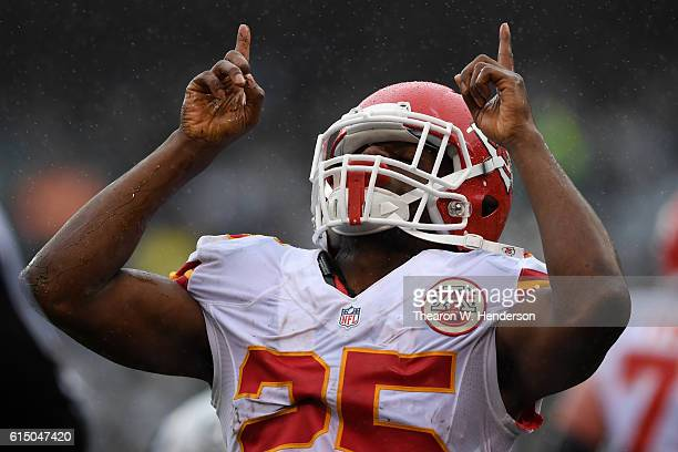Jamaal Charles of the Kansas City Chiefs reacts after rushing to the Oakland Raiders twoyard line during their NFL game at OaklandAlameda County...