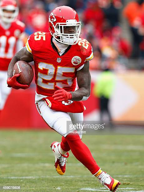 Jamaal Charles of the Kansas City Chiefs runs the ball against the Seattle Seahawks during the first quarter at Arrowhead Stadium on November 16 2014...