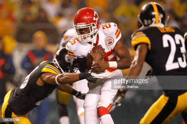 Jamaal Charles of the Kansas City Chiefs scores a 12yard rushing touchdown in the first quarter against the Pittsburgh Steelers at Heinz Field on...