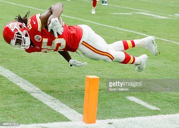 Jamaal Charles of the Kansas City Chiefs scores a first half touchdown during the game against the Houston Texans at NRG Stadium on September 13 2015...