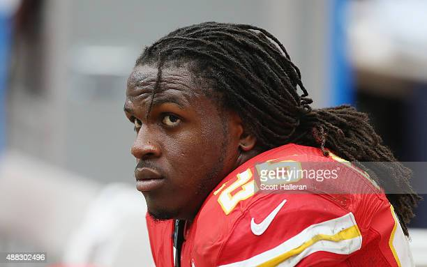 Jamaal Charles of the Kansas City Chiefs waits in the bench area during the game against the Houston Texans at NRG Stadium on September 13 2015 in...