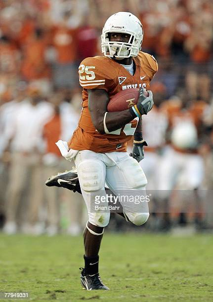 Jamaal Charles of the Texas Longhorns carries the ball during the game against the Nebraska Cornhuskers at Darrell K RoyalTexas Memorial Stadium...