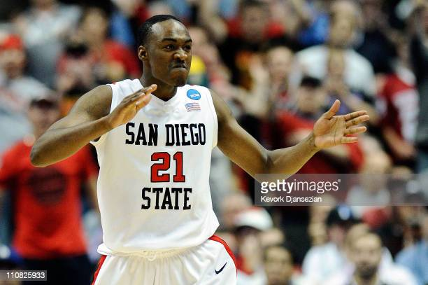 Jamaal Franklin of the San Diego State Aztecs reacts after a play against the Connecticut Huskies during the west regional semifinal of the 2011 NCAA...